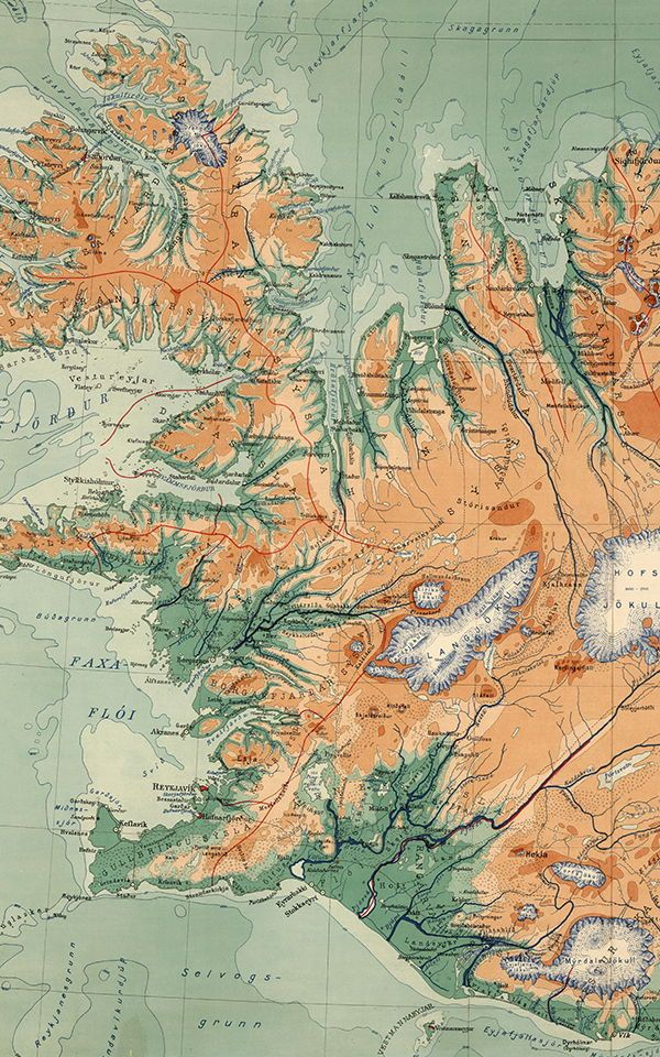 Iceland Vintage Map Wallpaper Mural