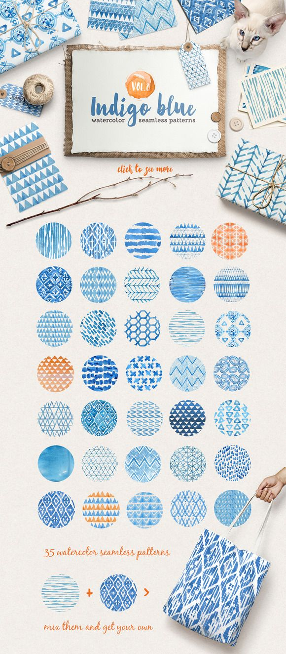 36 watercolor indigo blue patterns by Tasiania on Creative Market