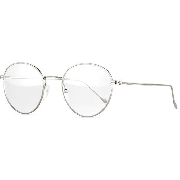 Illesteva Jefferson Round Wire Optical Frames (1,360 EGP) ❤ liked on Polyvore featuring accessories, eyewear, eyeglasses, glasses, silver, round eye glasses, rounded glasses, metal frame glasses, illesteva glasses and clear eye glasses