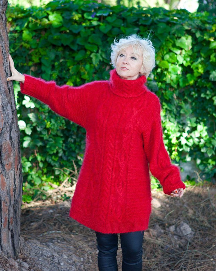 RED Hand Knitted Mohair SWEATER FUZZY Soft Dress Pullover #HandmadeMilevknitting…