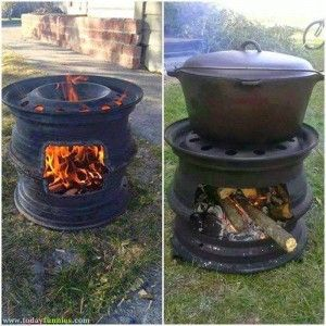 This Is Very #FunnyPicture Of Recycled Alloy Rim. In This Funny Picture You Can See That Recycled Alloy Rims Of A Car Are Used As A Stove. This Is Very Creative Idea Of Using Car Wheel #AlloyRims As A Fire Pit. Share This Strange Invention With Your Friends And Family If You Like It.