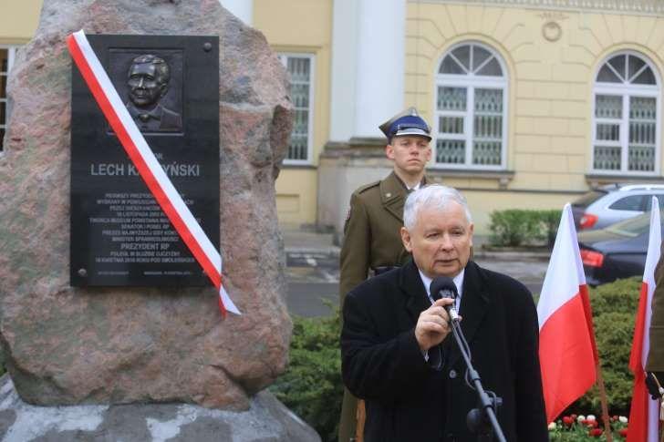 Prezes PiS, Jarosław Kaczyński podczas podczas obchodów rocznicy katastrofy smoleńskiej