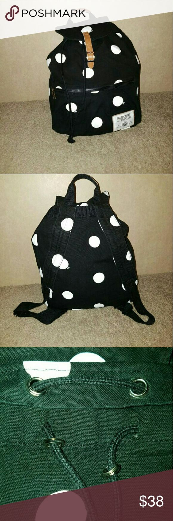 PINK Back Pack Rare black and white polka-dot design, it's been very gently used, the only damage I can find is in picture 3 PINK Victoria's Secret Bags Backpacks