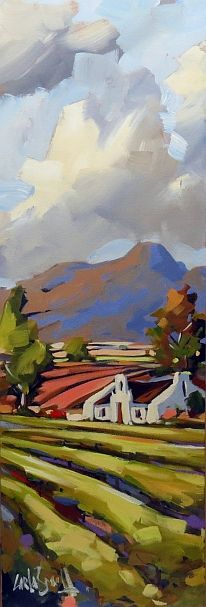 Cape Wine Lands by CARLA BOSCH Oil on Canvas 30x90cm