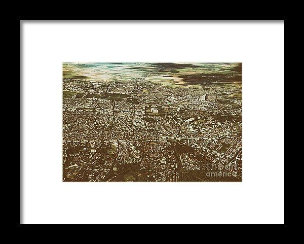 Aerial View Of Bucharest City In Romania Framed Print
