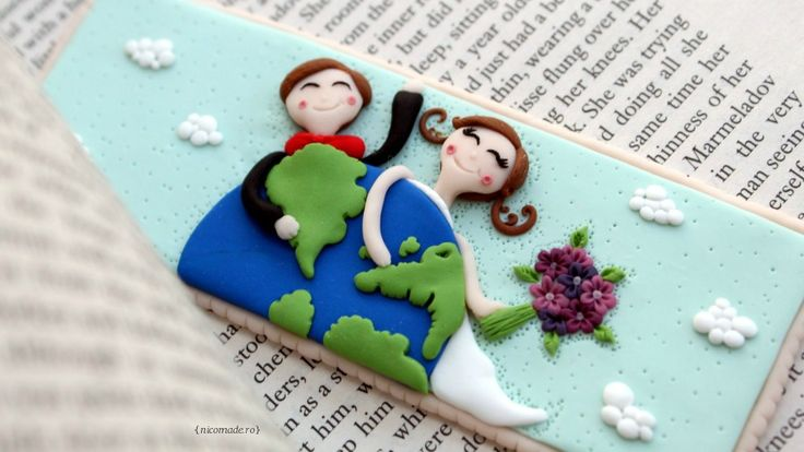 Wedding portraits - Polymer clay bookmark