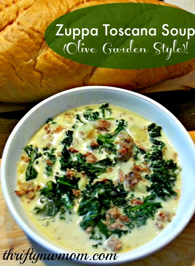 Total: 10.2K Facebook613 Twitter0 Google+2 Pinterest9.6K LinkedIn0 Digg0 StumbleUpon0 Tumblr0 Email1 Reddit0 10.2KShare Olive Garden Zuppa Toscana Soup – Copy Cat Olive Garden Recipe If you are in the mood for some good comfort food, then I have a great recipe for the Olive Garden Zuppa Toscana Soup for you. We love to hit the …