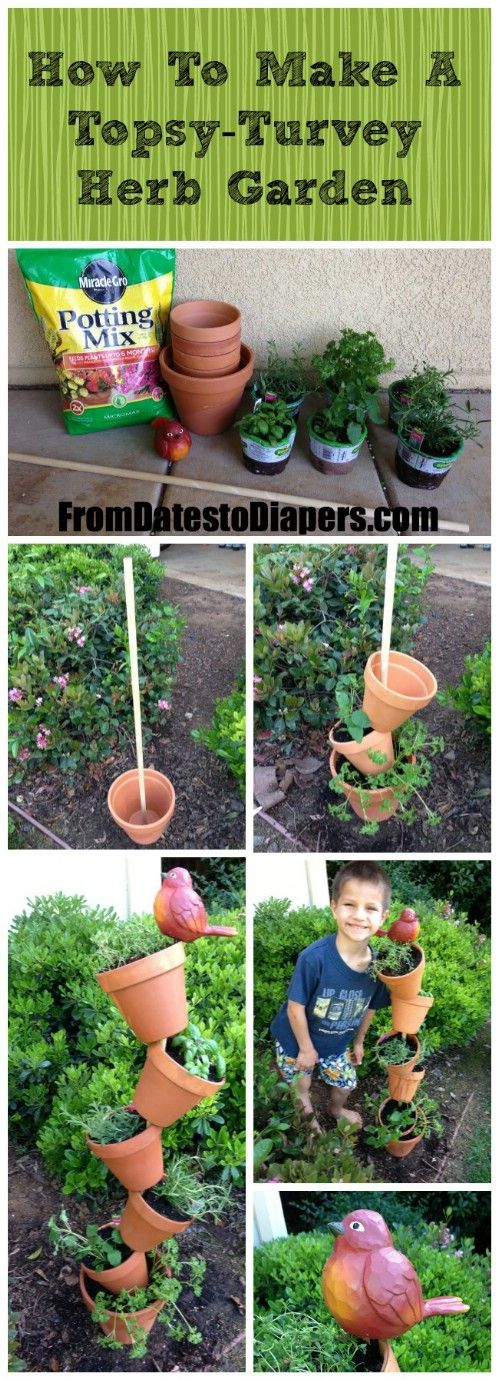 Make a cute topsy-turvy stack of gardening pots.