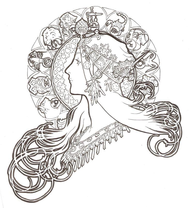 Alphonse Mucha painting – line drawing | Sas Ink