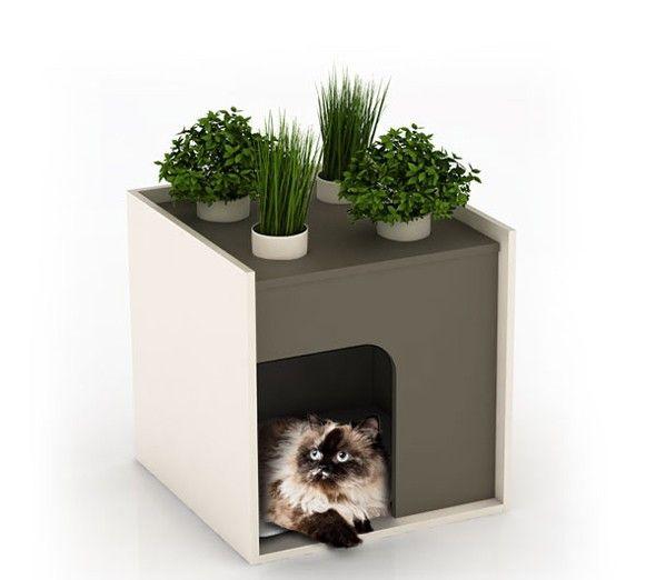 cachette pour litière chat sur le balcon