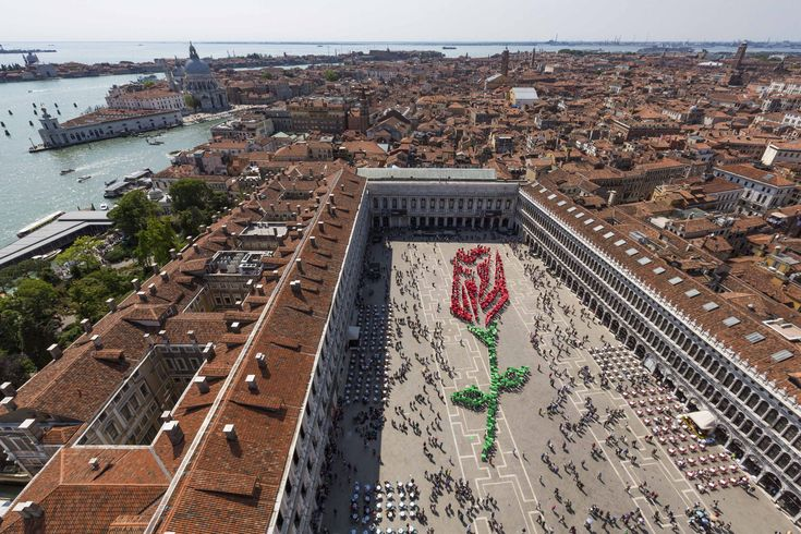 Festa del Bòcolo, the 25th of April, the day of the patron Saint of Venice, San Marco. According to tradition each man gives his beloved a red rose on this day. Over a 1000 Venetians gathered on the Piazza San Marco to create this beautiful red rose.