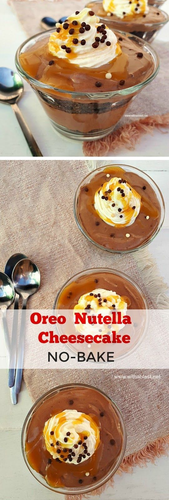 An easy, no-bake Oreo Nutella Cheesecake for a last minute dessert #NoBake #Cheesecake #EasyDessert