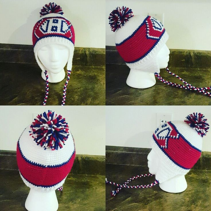 Montreal Canadiens hat I crocheted for a toddler