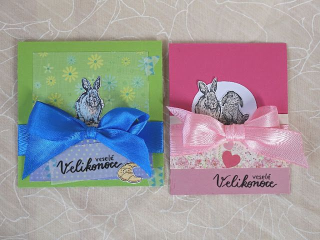 Bunny Easter card with a bow