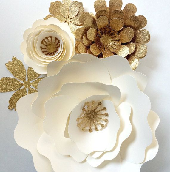 Paper Flower Wall Decor large paper flower backdrop with touches of gold for sparkle! by PaperFlora