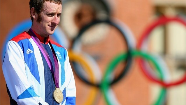 Gold medallist Bradley Wiggins of Great Britain celebrates during the Victory Ceremony. Olympics #Olympics