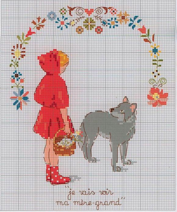 red ridding hood meets the wolf, cross stitch