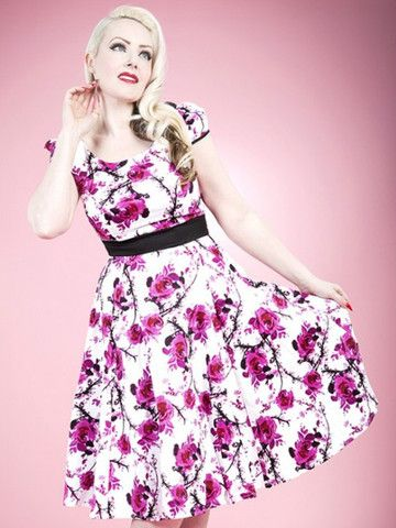 Pink & White Floral Swing Dress by H&R London at Anomalie Clothing - http://anomalieclothing.com.au/collections/dresses/products/pink-white-floral-swing-dress-hearts-and-roses -  This dress features delicate magenta rose and cherry blossom design on white background; capped sleeves; faux belt; full swing skirt; soft but strong material with a slight stretch. Can be worn with or without a petticoat (Petticoat not included). Vintage Spring Summer fashion, 1950s,1960s, Rockabilly