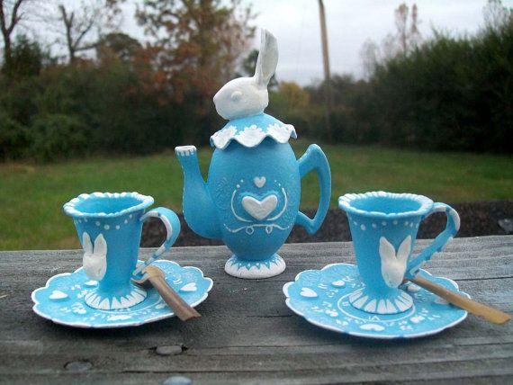 White Rabbit Dolls' Tea Set. A Made-to-Order by Rhissanna on Etsy