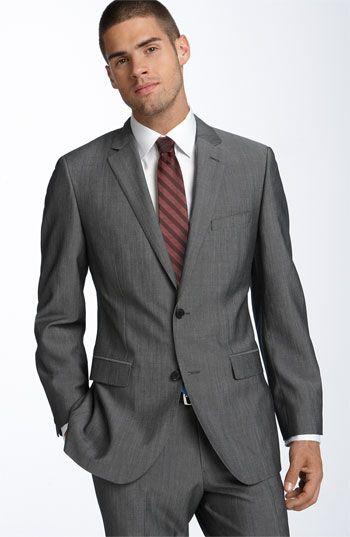 Grey Suit different color tie