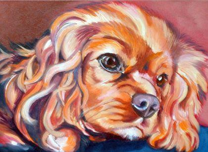 Cavalier King Charles Spaniel ruby watercolor