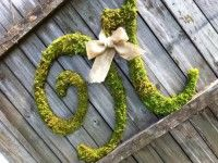 Large Wood Letter N Covered in Moss