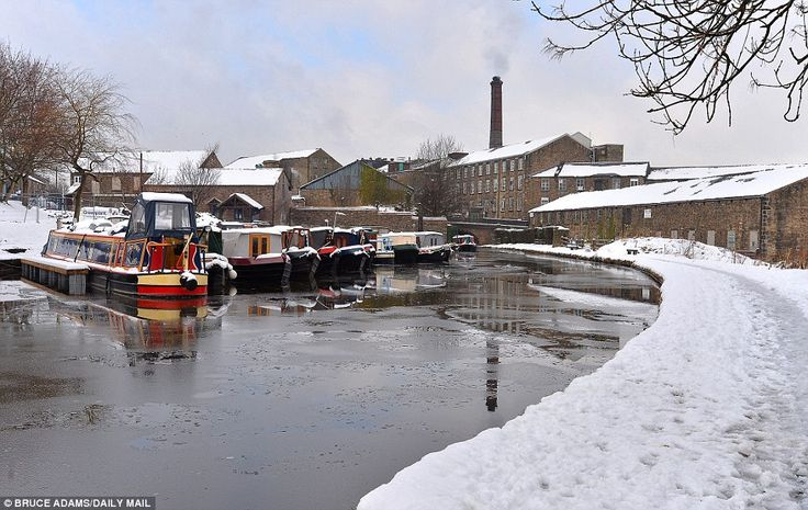 A frozen canal at New Mills Marina in New Mills, Derbyshire today. The region was hit with...