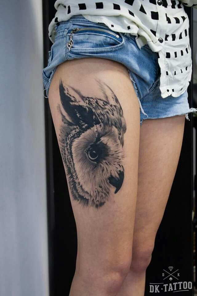 Realistic owl tattoo. Dk tattoo rzeszów