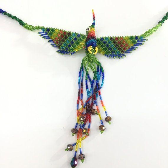 Gypsy Hippie Ethinic Hand Beaded Phoenix ketting zaad kraal geweven volkskunst Maya woodstock Latijns-Amerika in Mexicaanse stijl gemaakt in Guatemala 03