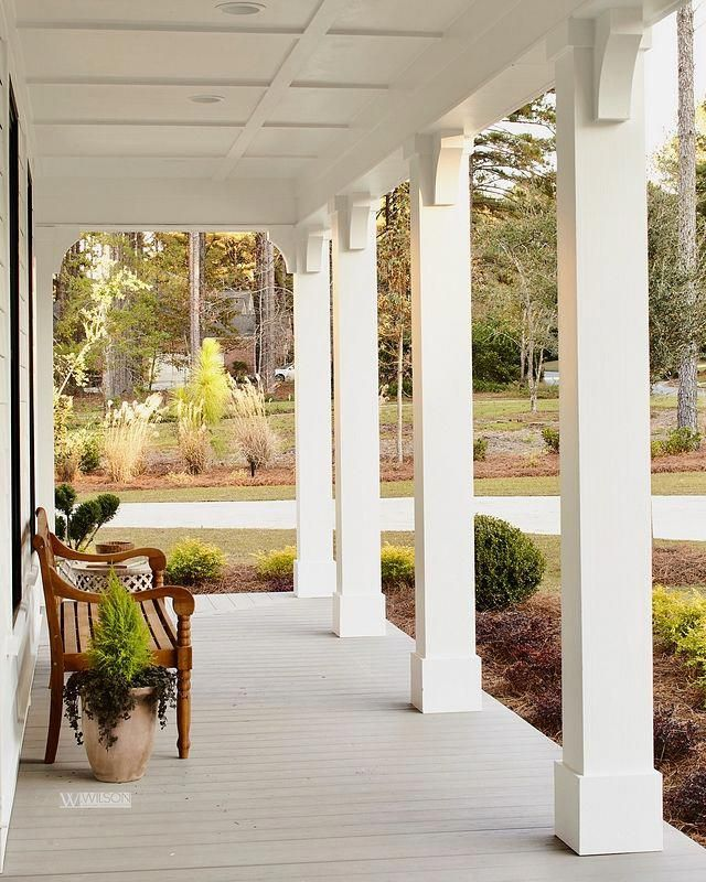 Front Porch Architectural Details The Porch Flooring Is Azek Harvest Collection In Slate Gray Notice The Porch Flooring Farmhouse Front Porches Porch Columns