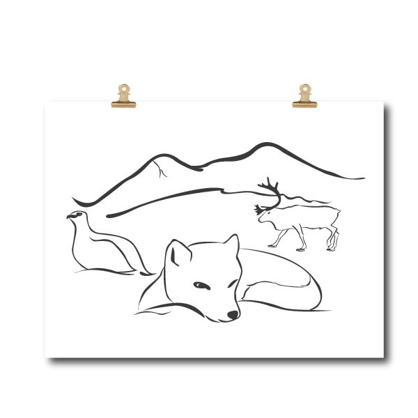 www.klappi.se #Ekologiskabarnkläder från #Lappland #norrland. #eko #ekoreko #ekologisk #svenskdesign #ekokläder #giftfritt #kläppi #klappi.se Product: #poster #posterlapland  #grey #white #Lapland #arcticfox #fjällräv #reindeer #ren #grouse #ripa. #eco #oekotex100 #lovefromlapland #swedishlapland #fairtrade #organiccotton #organic #scandinavian #schwedischen #organickidswear #kidsfashion #sustainablefashion #sustainable #gots #swedish #swedishdesign #swedishbrand