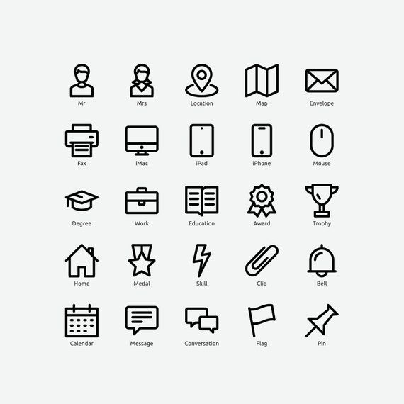 Resume Icons In Vector And Png Etsy In 2020 Resume Icons Website Icons Icon