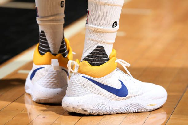 Sneakers worn by Draymond Green of the Golden State Warriors during the game against the Minnesota Timberwolves on March 10 2017 at Target Center in...