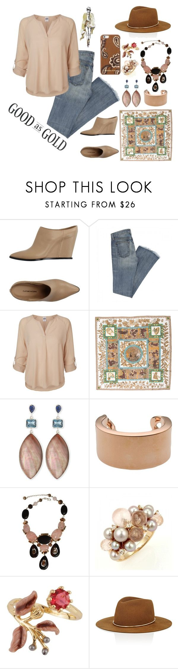 """Good as Gold"" by christinemusal ❤ liked on Polyvore featuring COSTUME NATIONAL, Vero Moda, Hermès, Stephen Dweck, Maison Margiela, Philippe Ferrandis, Mimí, Les Néréides, Janessa Leone and Michael Kors"