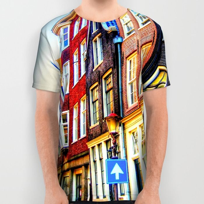 Amsterdam City All Over Print Shirt #fashion #tshirt #fashionwear #amsterdam #holland #city #house