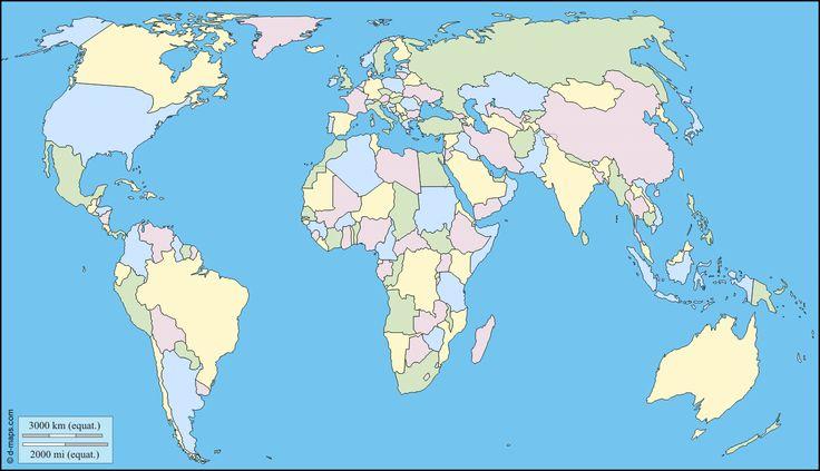 Planisphère centré Europe Afrique : carte géographique gratuite, carte géographique muette gratuite, carte vierge gratuite, fond de carte gratuit : Etats, couleur