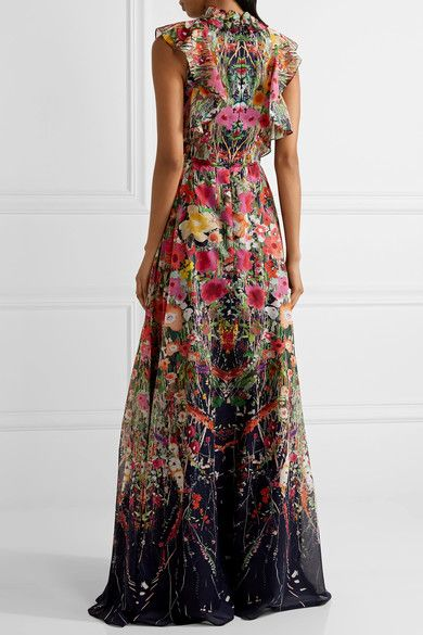 GABRIELLE'S AMAZING FANTASY CLOSET | Lela Rose's Black Voile Floral Print Maxi-Gown (Back View) You can see the Front View and the rest of the Outfit and my Remarks on this board. - Gabrielle
