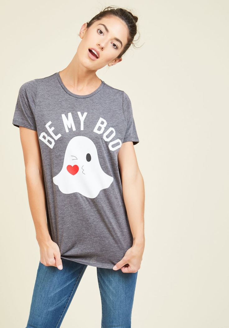 Your Biggest Phantom T-Shirt - Grey, Solid, Casual, Critters, Short Sleeves, Fall, Better, Crew, Halloween, Mid-length