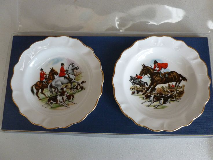 English Hunting Plates - Vintage Horse Plates - Vintage Fox Hunting Plates - Horse and Hounds - Boxed Gift Set - Riding Hunting Dogs Horses by Teddyrose54 on Etsy