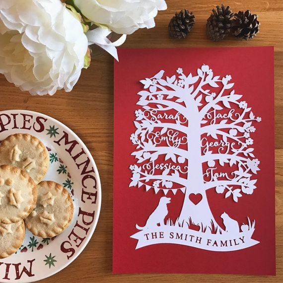 A stunning A4 personalised family tree papercut!
