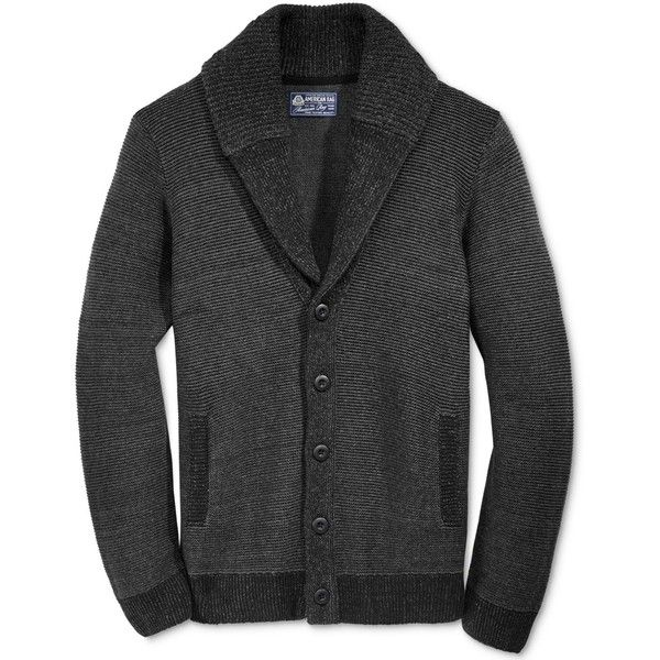 American Rag Men's Colorblocked Texture Shawl-Collar Cardigan, ($50) ❤ liked on Polyvore featuring men's fashion, men's clothing, men's sweaters, deep black, mens sweaters, mens cardigan sweaters, mens shawl collar sweater and mens shawl collar cardigan sweater