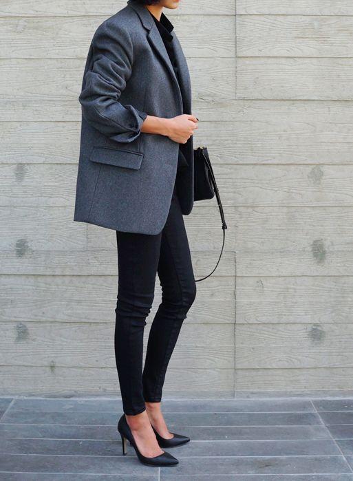 Grey blazer & black jeans