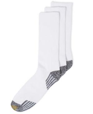 Gold Toe Socks, 3-Pack G Tech Sport Outlast Crew Socks - White 10-13