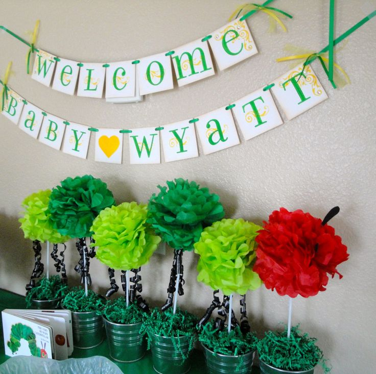 hungry caterpillar baby shower banner WELCOME BABY custom with name. $34.00, via Etsy.