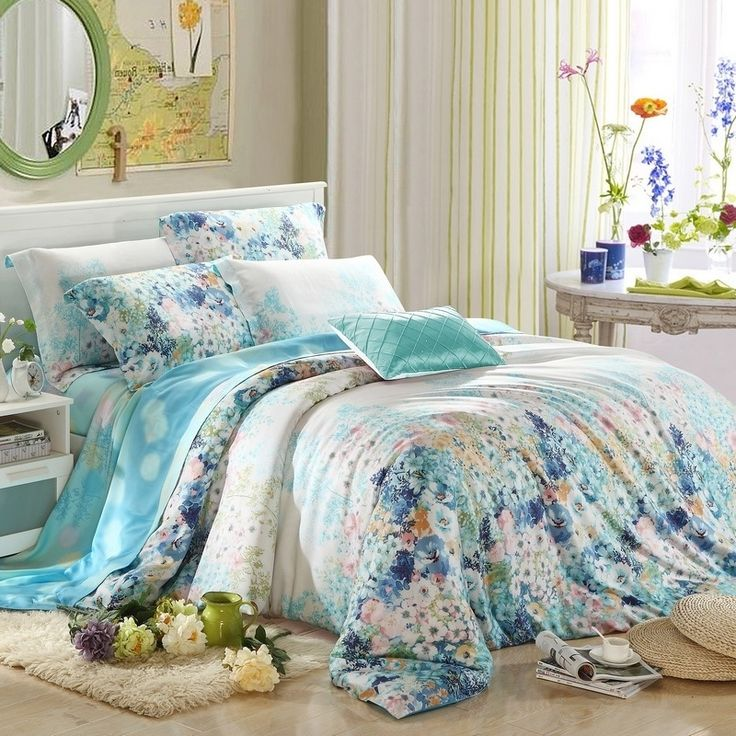 Pale Pink and Aqua Blue Country Chic Floral Print