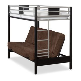 Industrial Showpiece. The Samba Youth Twin over Full bunk bed with futon sofabed on the bottom adds innovative versatility to your child's bedroom with multiple options for sleeping and lounging. The futon sofa creates an especially appealing hangout spot for your kids. The space-saving bed design maximizes a room's layout, and sturdy industrial-strength steel keeps safety top of mind. Mattresses are not included.