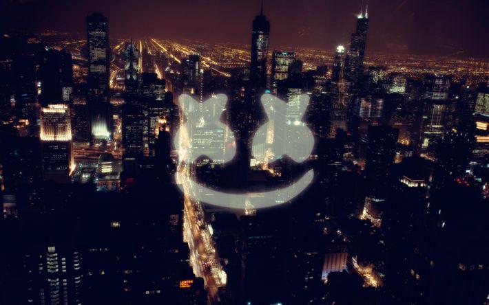 Descargar fondos de pantalla Marshmello, DJ, logotipo, la noche de la ciudad, estados UNIDOS, rascacielos