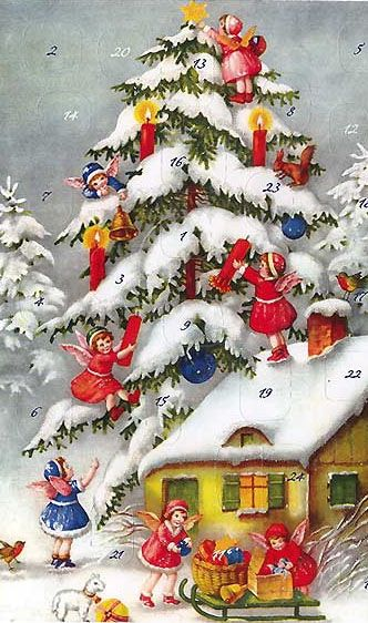 Angels decorating the tree advent card ~ Germany
