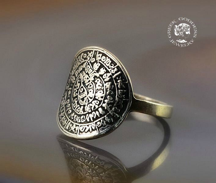 Phaistos Disc silver ring, antique ring, Phaistos Disc, silver Phaistos Disc, greek ring, ancient ring, greek jewelry, greek by GreekGoddessJewelry on Etsy https://www.etsy.com/listing/254373807/phaistos-disc-silver-ring-antique-ring