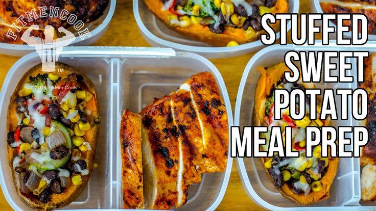 Bodybuilding Meal Prep Stuffed Sweet Potatoes / Batatas Rellenas con Ver...